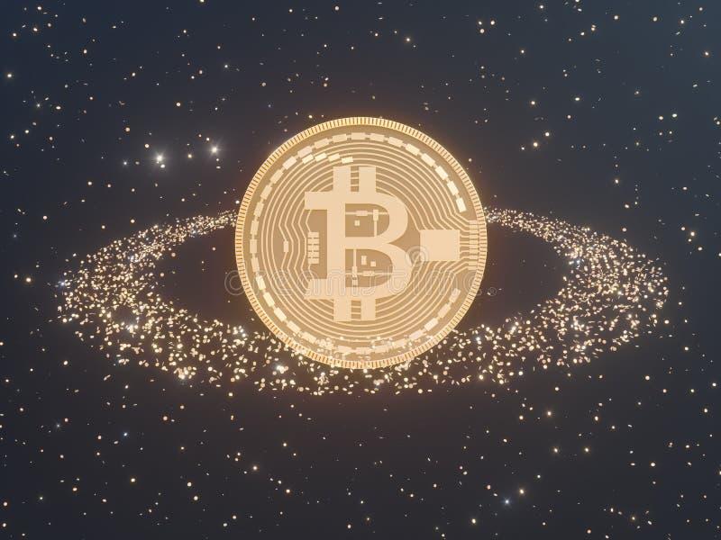 Bitcoin a entouré par cryptocurrency d'or de pièces de monnaie, rendu d'illustration du monero 3D, d'isolement sur le backgroun b illustration stock