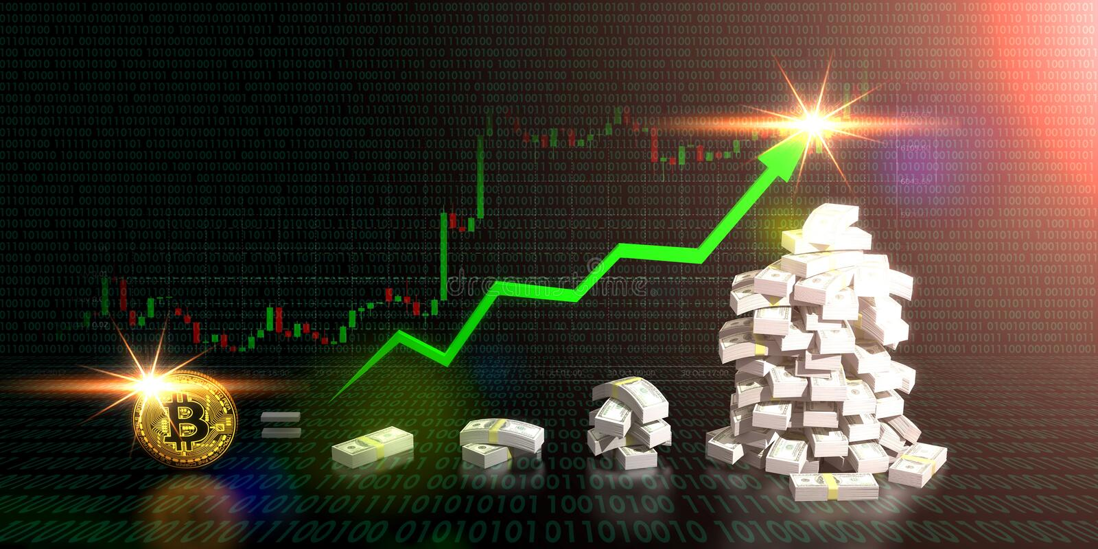 Bitcoin equal to rising money trading direction on graph. Bitcoin equal to rising money trading direction on graph and digital sign dark background. 3D stock illustration