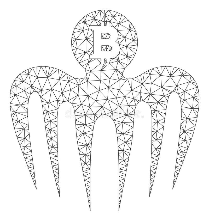 Bitcoin-Erscheinungs-Monster-Vektor Mesh Wire Frame Model lizenzfreie abbildung
