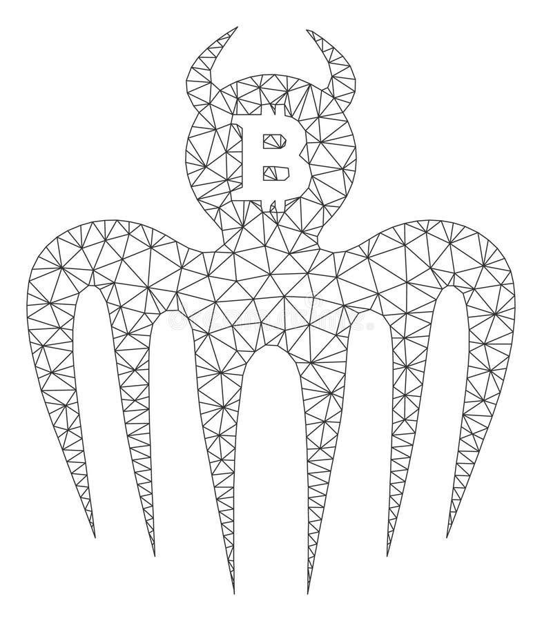 Bitcoin-Erscheinungs-Teufel-Vektor Mesh Carcass Model lizenzfreie abbildung