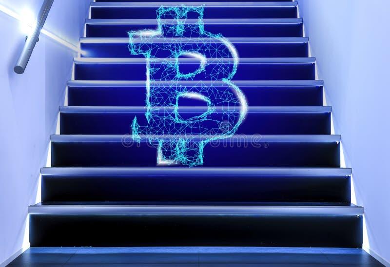 Bitcoin est fait de particules et lignes de plexus sur les escaliers le concept de la croissance du cryptocurrency avec a photos libres de droits