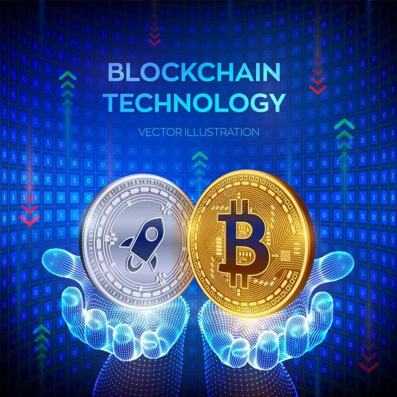 Bitcoin estelar Blockchain moneda f?sica del pedazo 3D Concepto de la cadena de bloque Monedas de oro y de plata con Bitcoin y sí ilustración del vector
