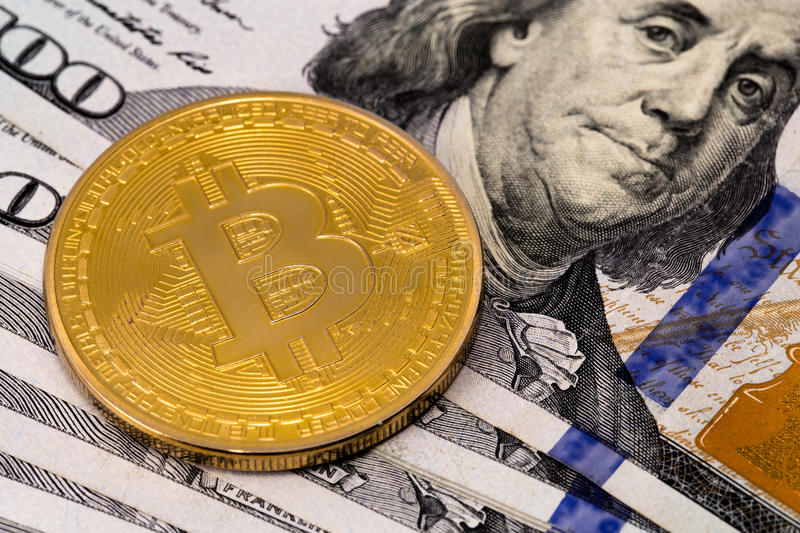 Bitcoin et dollar photographie stock