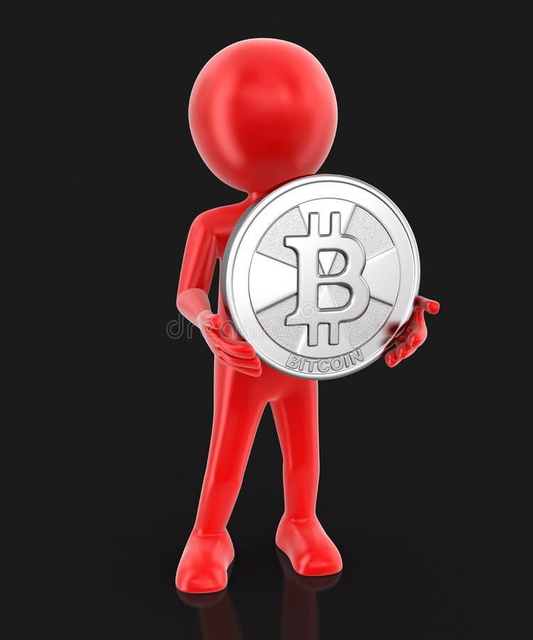 Bitcoin et homme argentés illustration de vecteur