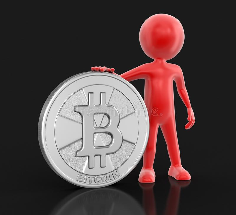 Bitcoin et homme argentés illustration libre de droits