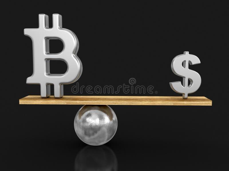 Bitcoin et symbole dollar équilibrés sur la planche illustration de vecteur