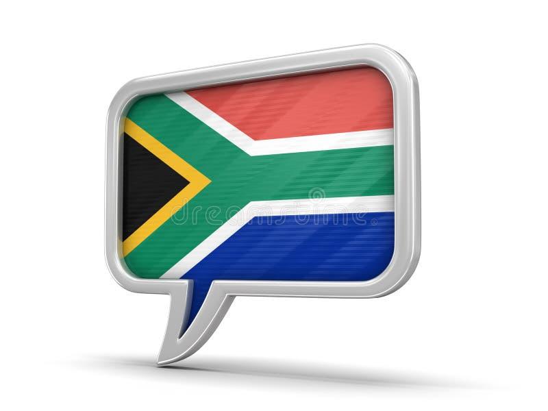 Bitcoin et symbole dollar ont équilibré sur la bulle de plankSpeech avec le drapeau sud-africain de république illustration libre de droits