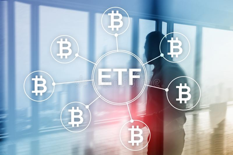 Bitcoin ETF cryptocurrency trading and investment concept on double exposure background.  stock photography