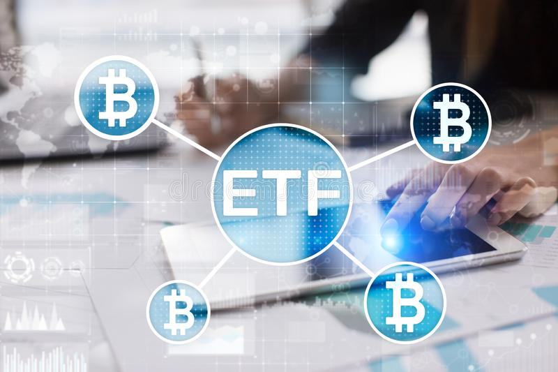 Bitcoin ETF, Exchange traded fund and cryptocurrencies concept on virtual screen. Bitcoin ETF, Exchange traded fund and cryptocurrencies concept on virtual stock photo