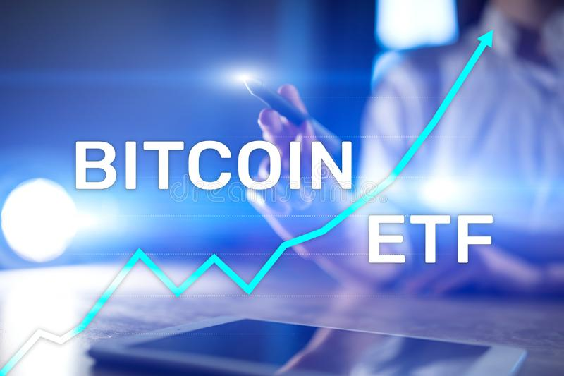 Bitcoin ETF, Exchange traded fund and cryptocurrencies concept on virtual screen. Bitcoin ETF, Exchange traded fund and cryptocurrencies concept on virtual stock image