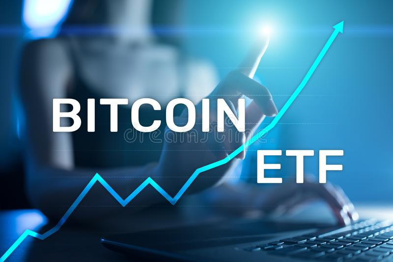 Bitcoin ETF, Exchange traded fund and cryptocurrencies concept on virtual screen. stock illustration