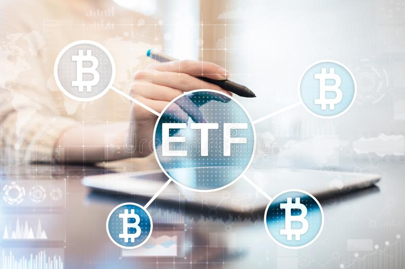 Bitcoin ETF, Exchange traded fund and cryptocurrencies concept on virtual screen. Bitcoin ETF, Exchange traded fund and cryptocurrencies concept on virtual stock images