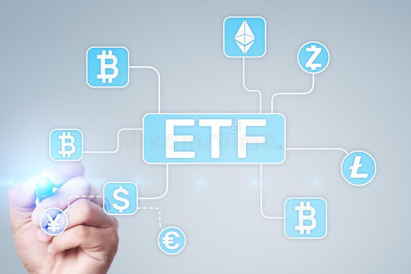 Bitcoin ETF. Exchange traded fund and cryptocurrency concept on virtual screen. Bitcoin ETF. Exchange traded fund and cryptocurrency concept on virtual screen stock photo