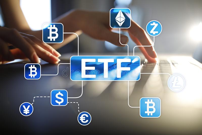 Bitcoin ETF. Exchange traded fund and cryptocurrency concept on virtual screen. Bitcoin ETF. Exchange traded fund and cryptocurrency concept on virtual screen royalty free stock image