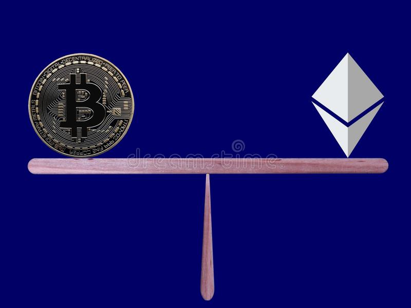 Bitcoin and Ethereum in balance. Bitcoin and Ethereum balancing on dark blue background stock image