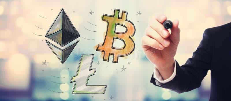 Bitcoin, Ethereum en Litecoin met zakenman royalty-vrije stock fotografie