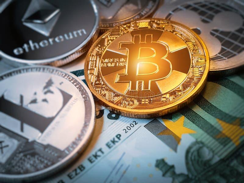 Bitcoin ethereum litecoin和其他硬币在欧元钞票 库存照片