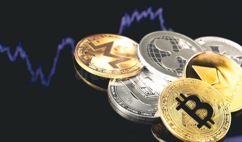 Bitcoin ethereum, streck, monero, litecoin, krusning royaltyfria foton