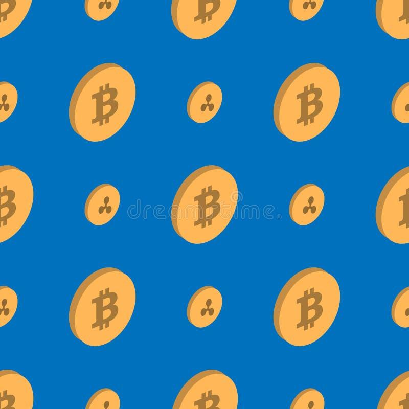 Bitcoin Etherium Cryptocurrency sömlös modell vektor illustrationer