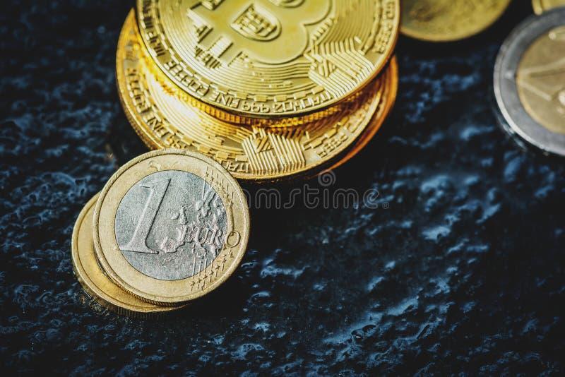 Bitcoin and Euro coin stock photo. Image of blockchain - 113200470