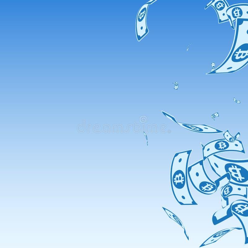 Bitcoin, eurosedlar som faller Random B royaltyfri illustrationer