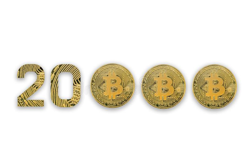 20000 bitcoin exchange rate, isolated. Crypto currency style for design stock image