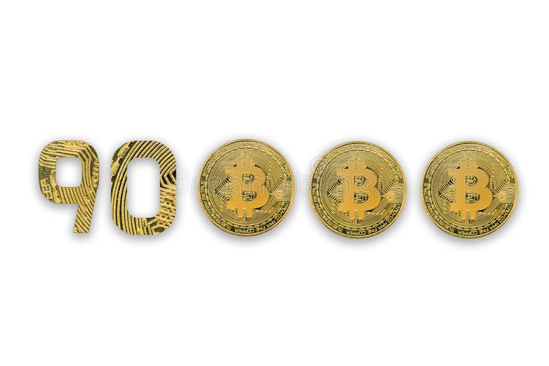 90000 bitcoin exchange rate, isolated. Crypto currency style for design royalty free stock photos