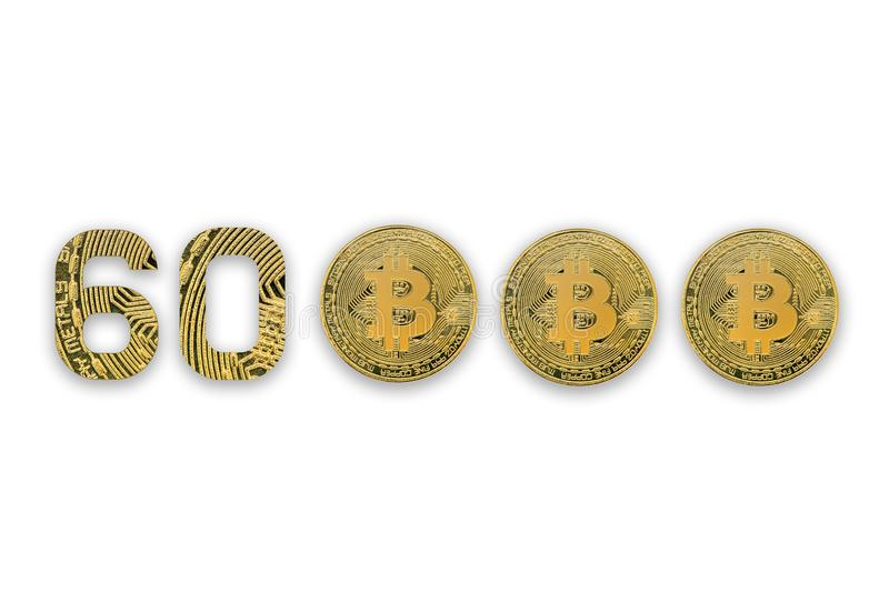 60000 bitcoin exchange rate, isolated. Crypto currency style for design stock photography