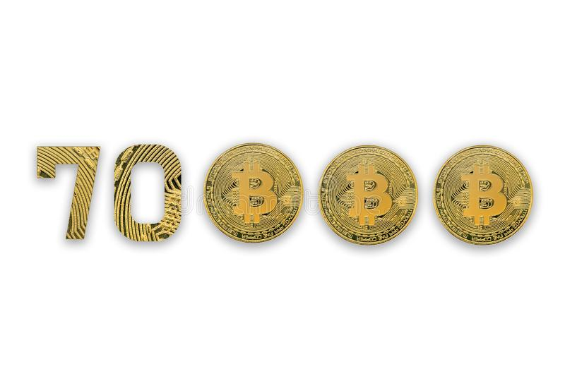 70000 bitcoin exchange rate, isolated. Crypto currency style for design royalty free stock image