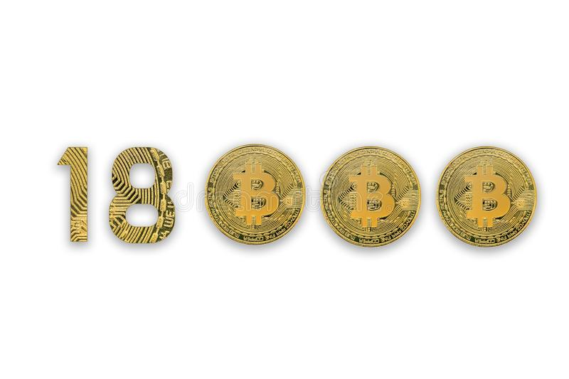 18000 bitcoin exchange rate, isolated. Crypto currency style for design royalty free stock images