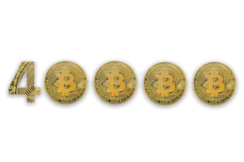 40000 bitcoin exchange rate, isolated. Crypto currency style for design royalty free stock images