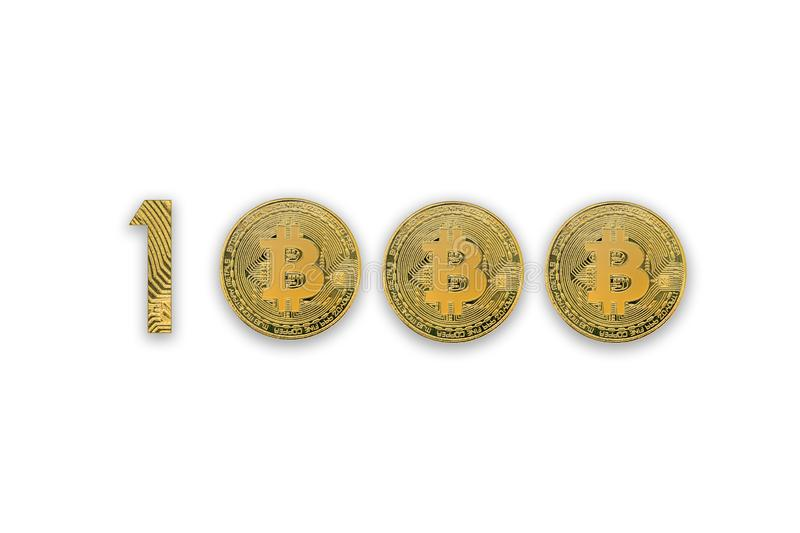 1000 bitcoin exchange rate, isolated. Crypto currency style for design stock photography