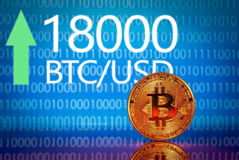 Bitcoin Expediente del precio del bitcoin del mercado - dieciocho mil 18000 dólares de EE. UU. imagenes de archivo