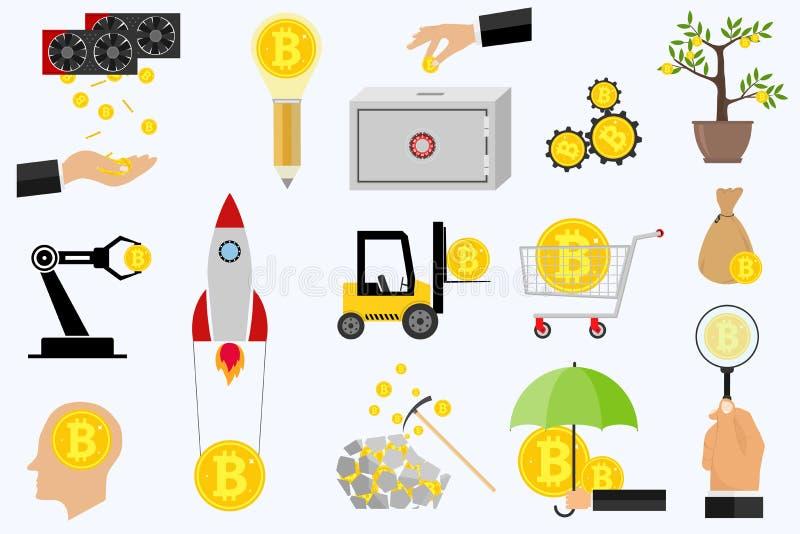 Bitcoin, explotación minera de Bitcoin, ganancias Bitcoins de los iconos Icono Crypto de la moneda stock de ilustración