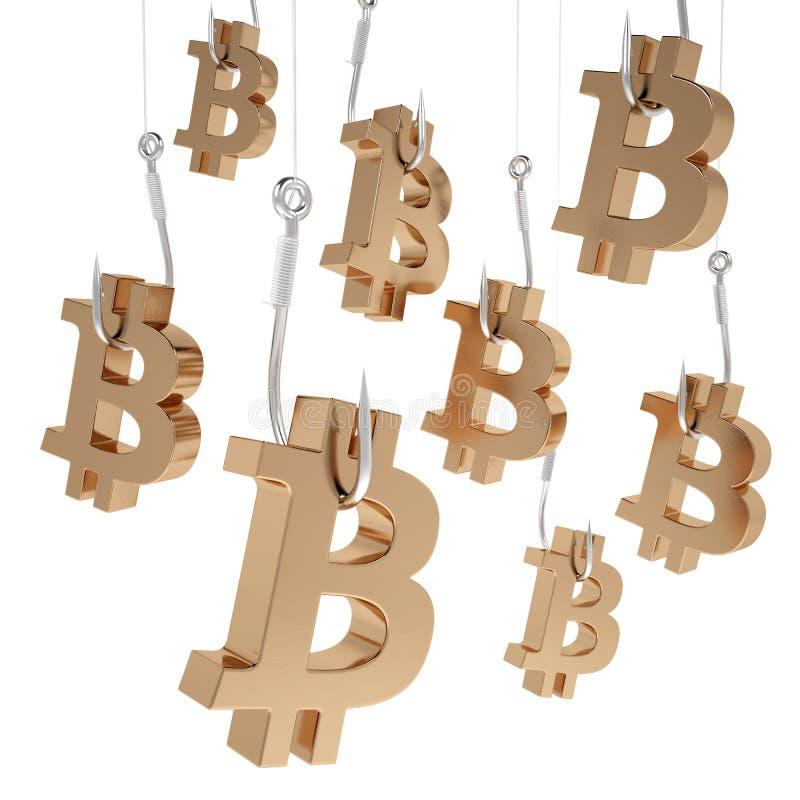 Bitcoin för många symboler av guld på fiske hakar royaltyfri illustrationer
