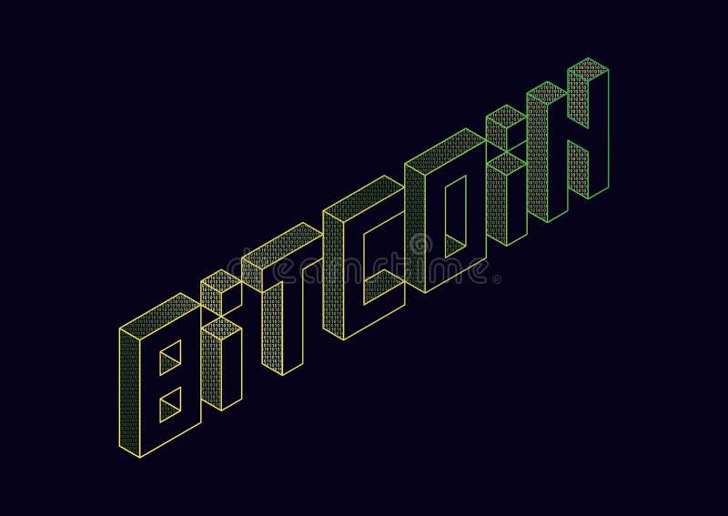 Bitcoin för vektortextillustration royaltyfri illustrationer