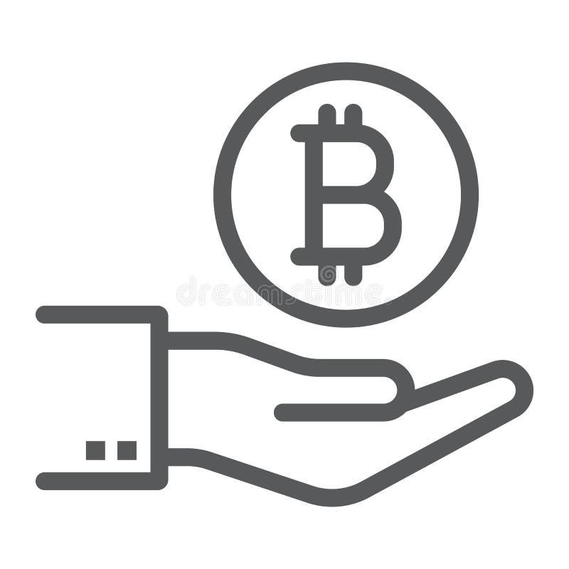 Bitcoin förestående linje symbol, finans och pengar royaltyfri illustrationer