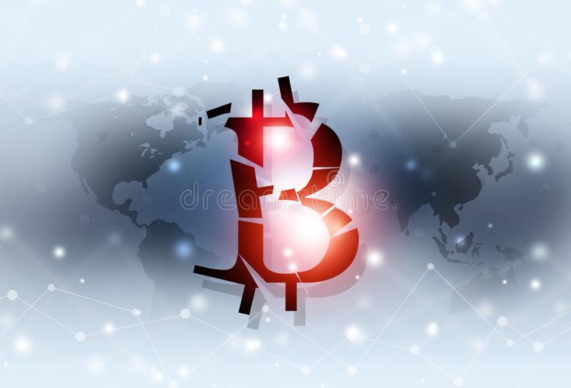 Bitcoin fall down business background. Bitcoin fall down business concept web world currency background royalty free illustration