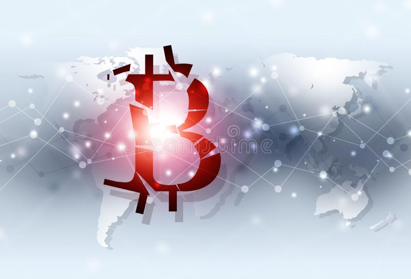 Bitcoin fall down business background royalty free illustration