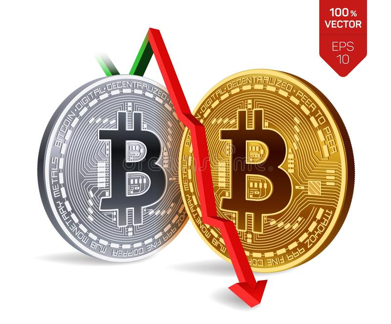 Bitcoin. Fall. Red arrow down. Bitcoin index rating go down on exchange market. Crypto currency. 3D isometric Physical Golden and royalty free illustration