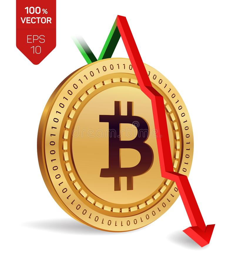 Bitcoin. Fall. Red arrow down. Bitcoin index rating go down on exchange market. Crypto currency. 3D isometric Physical Golden coin stock illustration