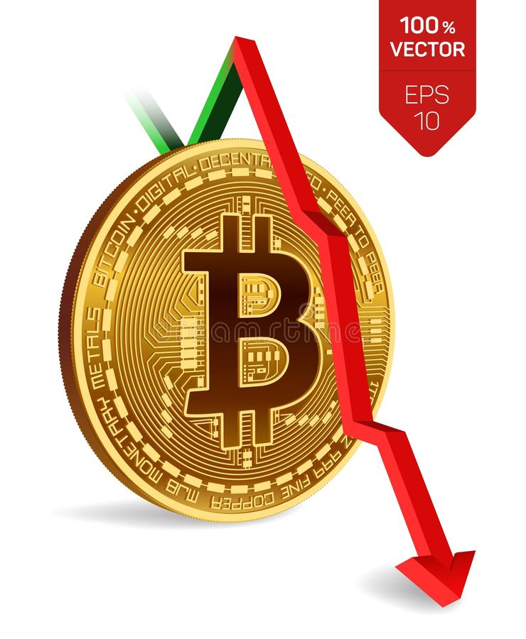 Bitcoin. Fall. Red arrow down. Bitcoin index rating go down on exchange market. Crypto currency. 3D isometric Physical Golden coin royalty free illustration