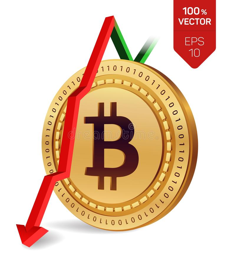 Bitcoin. Fall. Red arrow down. Bitcoin index rating go down on exchange market. Crypto currency. 3D isometric Physical Golden coin vector illustration