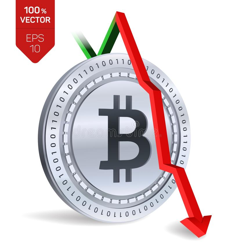 Bitcoin. Fall. Red arrow down. Bitcoin index rating go down on exchange market. Crypto currency. 3D isometric Physical Silver coin vector illustration
