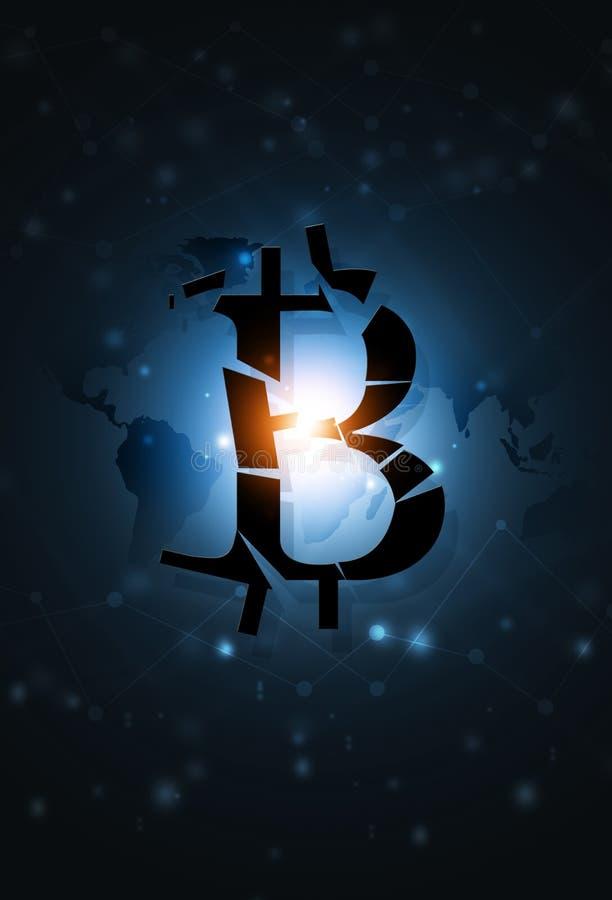 Bitcoin falla concepto del negocio stock de ilustración