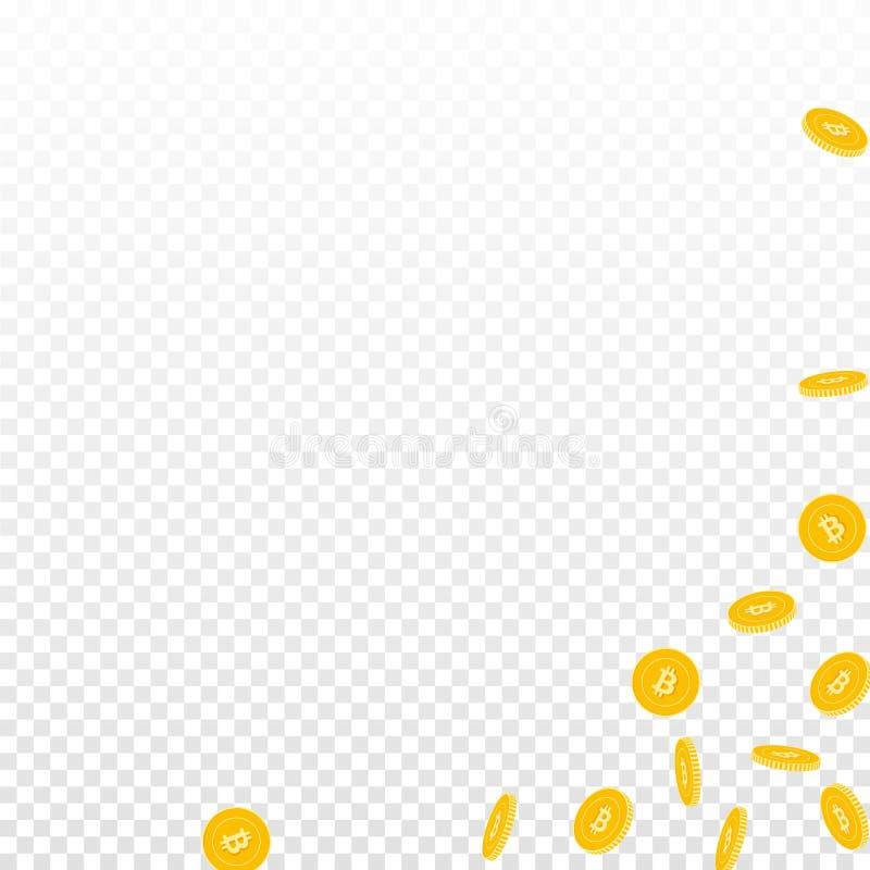Bitcoin falla f?r internetvalutamynt Scattere stock illustrationer