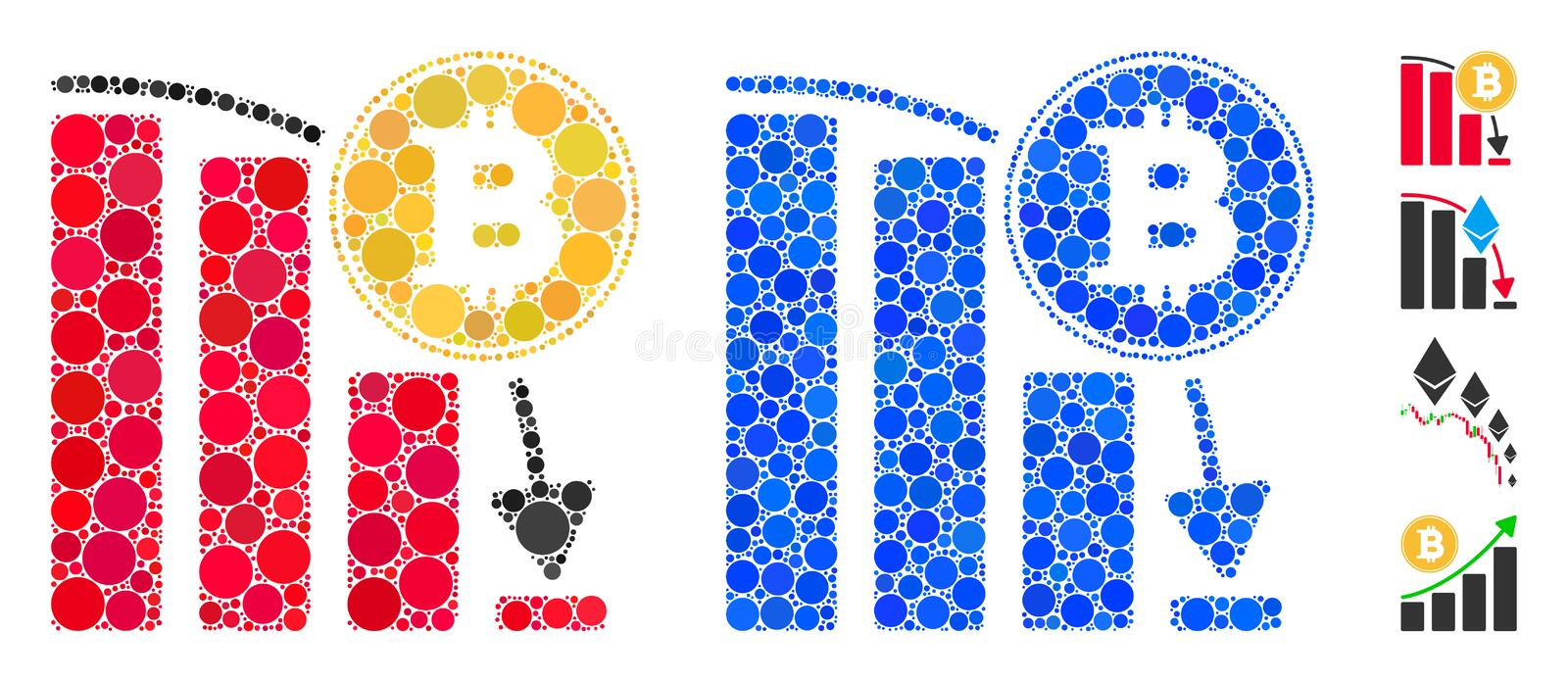 Bitcoin Falling Chart Composition Icon of Round Dots royalty free illustration