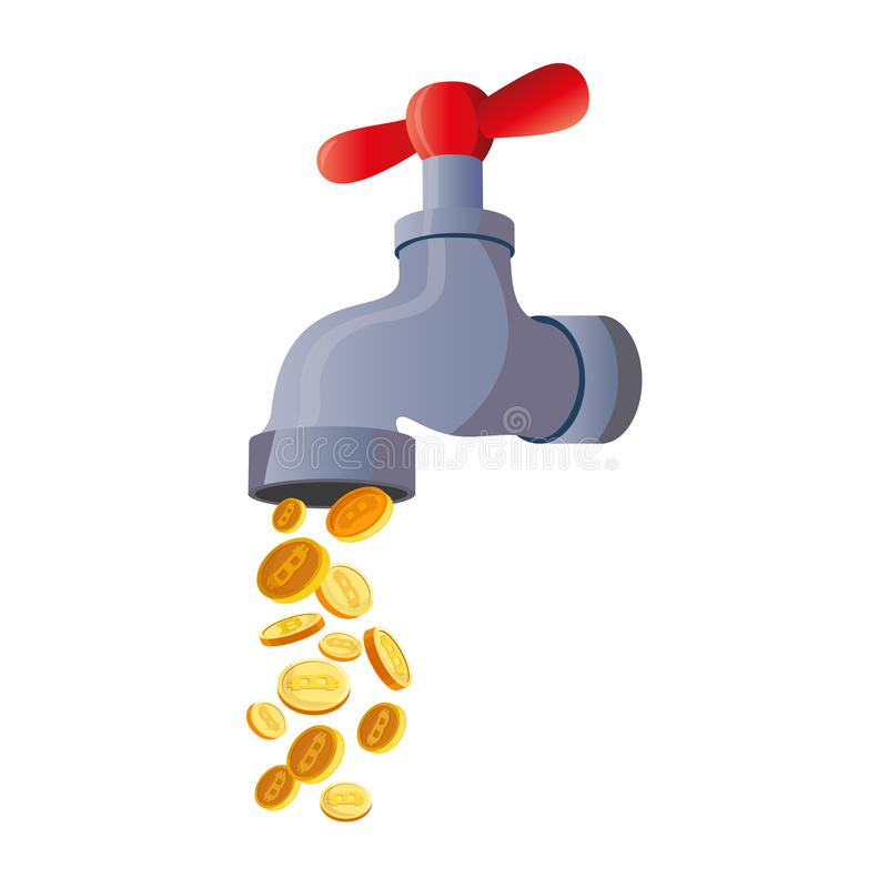 Bitcoin Faucet. Water Tap With Coins Stock Vector - Illustration of ...