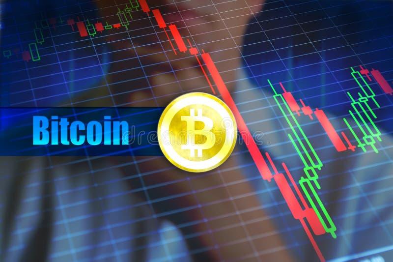 Bitcoin flyktighetbegrepp Snabb ändring, fallande bitcoinprisgraf arkivbilder