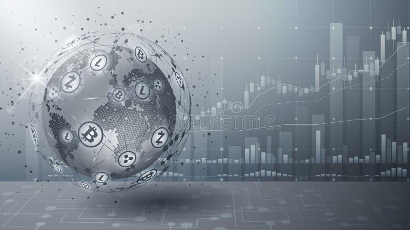 Bitcoin Fundo futurista cinzento Vetor Cryptocurrency da troca Tecnologia de Blockchain Holograma com um globo do mundo ilustração stock